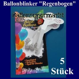 LED Blinklichter für Luftballons, 5 Stück, Regenbogenfarben
