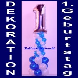 Dekoration aus Luftballons zum 1. Geburtstag, Ballondekoration