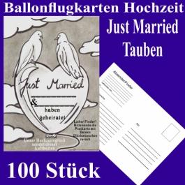 Ballonflugkarten Hochzeit Just Married, Hochzeitstauben, Postkarten zum Abhängen an Luftballons, 100 Stück