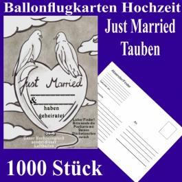Ballonflugkarten Hochzeit Just Married, Hochzeitstauben, Postkarten zum Abhängen an Luftballons, 1000 Stück