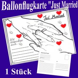 Ballonflugkarte Hochzeit Just Married, Postkarte zum Abhängen an Luftballons