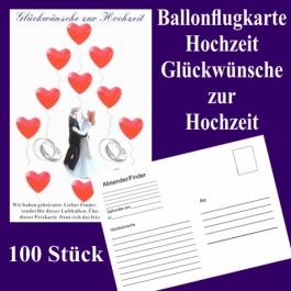 Ballonflugkarten Hochzeit, Glückwünsche zur Hochzeit, Luftballons mit Karten zur Hochzeit steigen lassen, 100 Karten