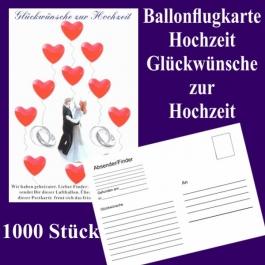 Ballonflugkarten Hochzeit, Glückwünsche zur Hochzeit, Luftballons mit Karten zur Hochzeit steigen lassen, 1000 Karten