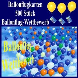 Ballonflugkarten, Ballonflug-Wettbewerb, Weitflug-Ballonkarten, Ballonmassenstart Postkarten, Karten für Luftballons, 500 Stück