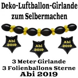 """Ballongirlande """"ABI 2019"""" zum Selbermachen - Kettenballons und Miniballons Schwarz-Gold, 3 Folienballons 3 Meter"""