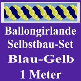 Girlande aus Luftballons, Ballongirlande Selbstbau-Set, Blau-Gelb, 1 Meter
