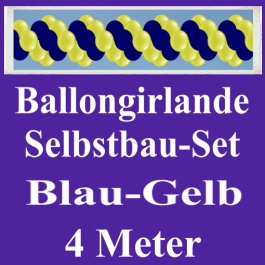 Girlande aus Luftballons, Ballongirlande Selbstbau-Set, Blau-Gelb, 4 Meter