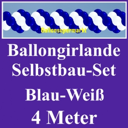 Girlande aus Luftballons, Ballongirlande Selbstbau-Set, Blau-Weiß, 4 Meter