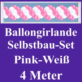 Girlande aus Luftballons, Ballongirlande Selbstbau-Set, Pink-Weiß, 4 Meter