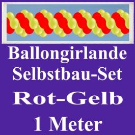 Girlande aus Luftballons, Ballongirlande Selbstbau-Set, Rot-Gelb, 1 Meter
