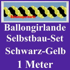 Girlande aus Luftballons, Ballongirlande Selbstbau-Set, Schwarz-Gelb, 1 Meter