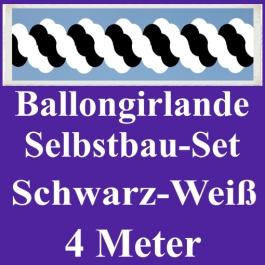 Girlande aus Luftballons, Ballongirlande Selbstbau-Set, Schwarz-Weiß, 4 Meter
