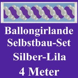 Girlande aus Luftballons, Ballongirlande Selbstbau-Set, Silber-Lila, 4 Meter