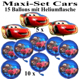 Cars Ballons Helium Maxi Set Kindergeburtstag 15 Cars Luftballons mit Heliumflasche