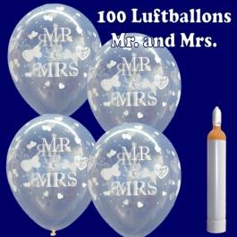 Luftballons Helium Maxi Set, 100 Luftballons Mr and Mrs