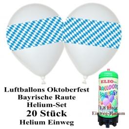 Ballons Helium Mini Set 20 bayrische Raute Oktoberfest Luftballons mit dem 1,8 Liter Einweg Helium Behälter
