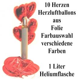 Ballons-Helium-Set-10-Herzluftballons-aus-Folie-Farbauswahl-mit-1-Liter-Heliumflasche