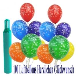 Maxi-Set 6, 100 bunte Luftballons Geburtstag, Herzlichen Glückwunsch, mit Helium