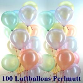 Ballons und Helium Set, 100 Luftballons Perlmutt mit der 10 Liter Helium-Ballongasflasche