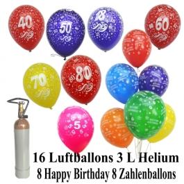 Ballons-Helium-Set-16-Luftballons-mit-Helium-Ballongasflasche-8-Zahlenballons-8-Herzlichen-Glueckwunsch-Ballons