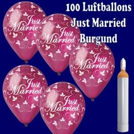 Ballons-Helium-Set-100-Luftballons-Just-Married-Burgund-und-10-Liter-Helium-Ballongasflasche-zur-Hochzeit