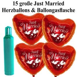 Ballons Helium Set Hochzeit: 15 große Herzluftballons Just Married mit Ballongasflasche
