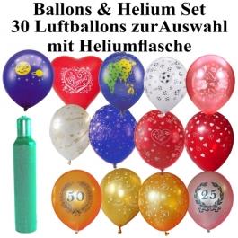 Ballons Helium Set Midi, 30 Luftballons mit Motiven zur Auswahl mit einer 2,5 Liter Heliumflasche