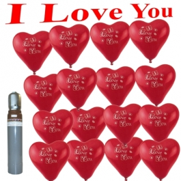 Ballons Helium Set Mini, 20 rote Herzluftballons I Love You