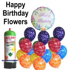 Ballons Helium Set kindergeburtstag, Happy Birthday Flowers