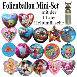 Luftballons Helium Set, 10 Folienballons mit der 1 Liter Heliumflasche