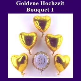 Bouquet aus Luftballons zur Dekoration der Goldenen Hochzeit, golden Herzen und 1 Rundballon, Zahl 50, Ballons aus Folie mit Ballongas