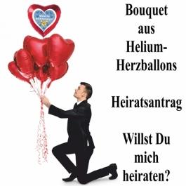 Bouquet aus Helium-Herzluftballons, Heiratsantrag, Willst Du mich heiraten?