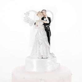 Brautpaar vor Herz, weiss, Dekoration Hochzeitstorte