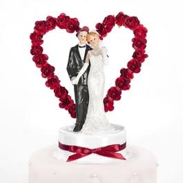 Brautpaar vor Rosenherz, rot, Dekoration Hochzeitstorte