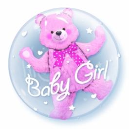 Insider-Bubble-Luftballon Baby Girl mit Helium, zu Geburt, Taufe, Babyparty