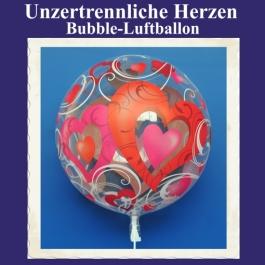 Bubble Luftballon mit Helium-Ballongas: Unzertrennliche Herzen
