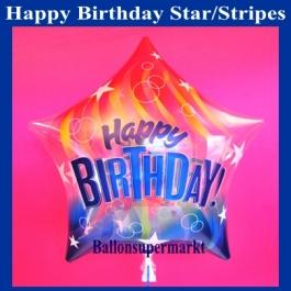 Bubble Stern-Luftballon Happy Birthday zum Geburtstag mit Helium, Colorful Stripes