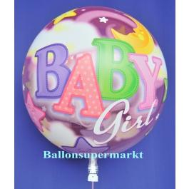 Luftballon aus der Serie Bubbles zu Geburt und Taufe mit Helium Ballongas, Baby Girl