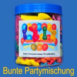 Bunte Partymischung, Dose mit 70 Luftballons zur Partydekoration