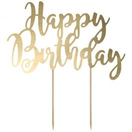 Cake Topper Happy Birthday Gold, Tortendeko zum Geburtstag