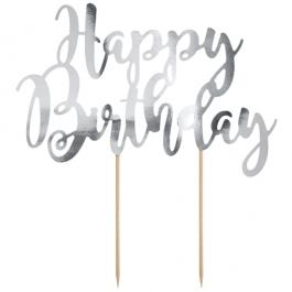 Cake Topper Happy Birthday Silber, Tortendeko zum Geburtstag