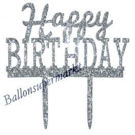 Spiegel Cake Topper Happy Birthday Glitter, Tortendeko zum Geburtstag