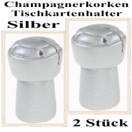 Tischkartenhalter Champagnerkorken Silber, 2 Stück