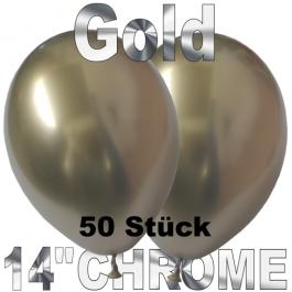 Luftballons in Chrome Gold 35 cm, 50 Stück