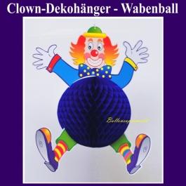 Dekorationshänger Clown mit blauem Wabenball, Festdeko, Partydekoration, Karneval, Fasching, Kinderkarneval, Kindergeburtstag, Kinderfest