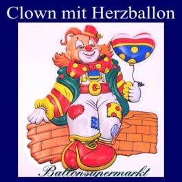 Clown mitHerzballon, Dekoration, Wanddekoration und Bühnendekoration zu Karneval und Fasching