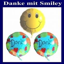 Danke Smiley Luftballons, 2 Folienballons Danke, 1 Folienballon Smiley, inklusive Ballongas