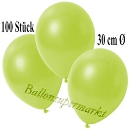 Deko-Luftballons Metallic Apfelgrün, 100 Stück