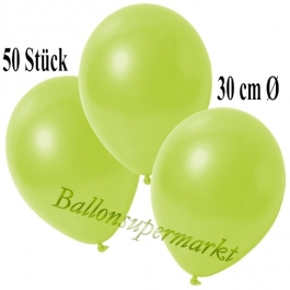 Deko-Luftballons Metallic Apfelgrün, 50 Stück