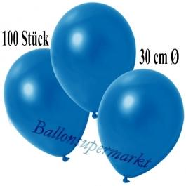 Deko-Luftballons Metallic Blau, 100 Stück